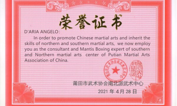 Maestro D'Aria collaboratore per la Putian Martial Arts Association of China